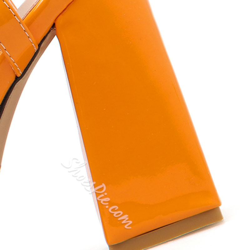 Shoespie Orange Ankle Strap Buckle Chunky Heel Sandals
