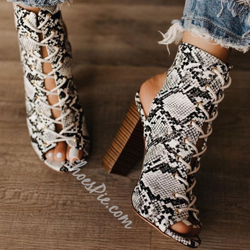Shoespie Snakeskin Lace-Up Chunky Heel Peep Toe Ankle Boots