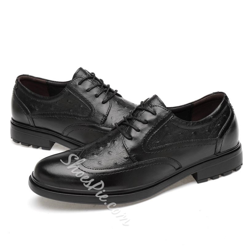Shoespie Men's Plain Lace-Up Low-Cut Upper PU Thin Shoes