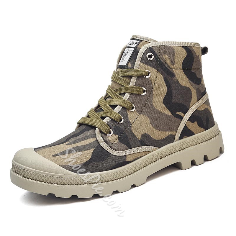 Shoespie Men's High-Cut Upper Lace-Up Camouflage Round Toe Skate Shoes
