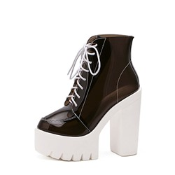 Shoespie Stylish Color Block Chunky Heel Lace-Up Front Jelly Boots