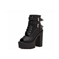Shoespie Sexy Zipper Chunky Heel Peep Toe Western Ankle Boots