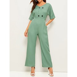 Button Wear to Work Plain Loose Women's Jumpsuit