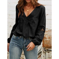 V-Neck Plain Patchwork Long Sleeve Women's Blouse