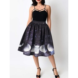 Print Mid-Calf Ball Gown Sweet Women's Skirt