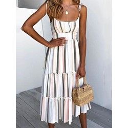Sleeveless Mid-Calf Stringy Selvedge Pullover Women's Casual Dress