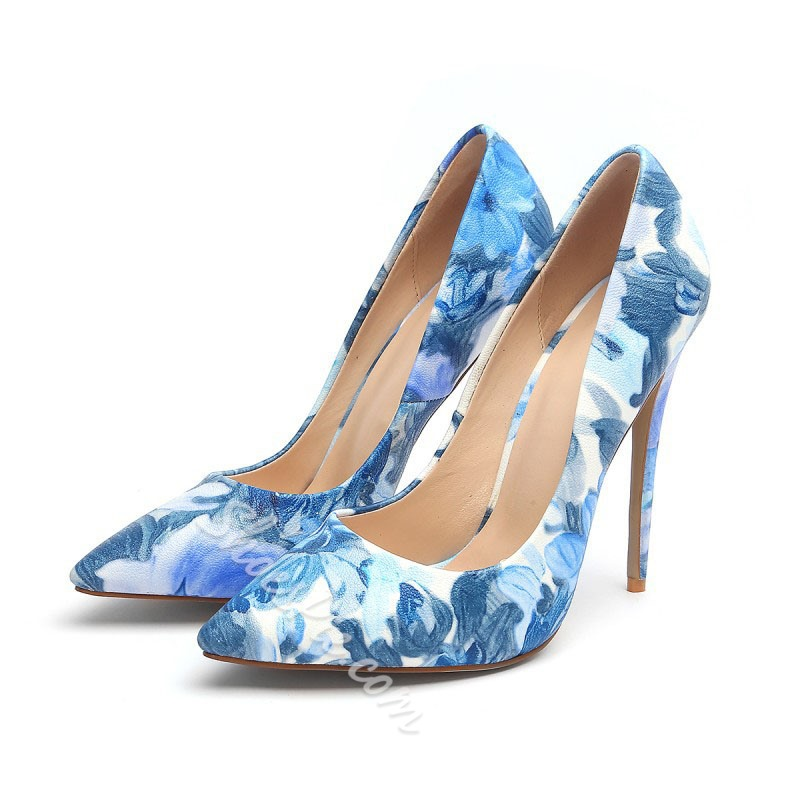 Shoespie Print Pointed Toe Stiletto Heels
