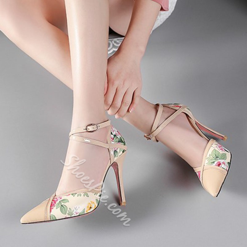 Shoespie Print Pointed Toe Buckle Stiletto Heel Pumps