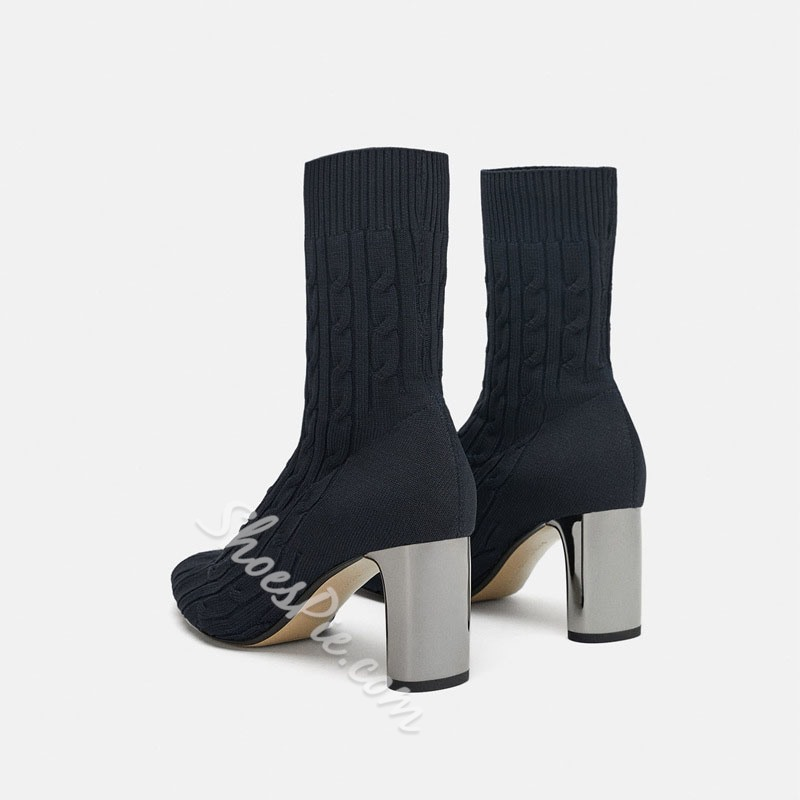 Shoespie Black Chunky Heel Sock Ankle Boots