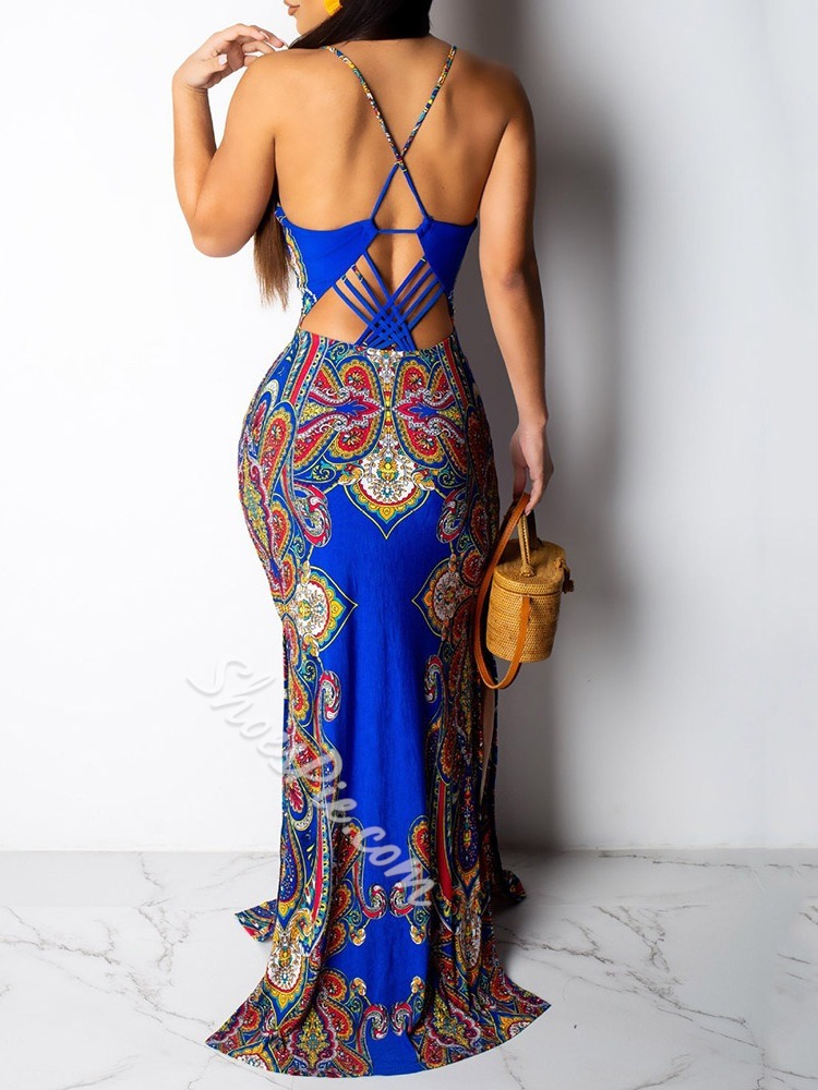 Backless Floor-Length Sleeveless Mid Waist Women's Maxi Dress
