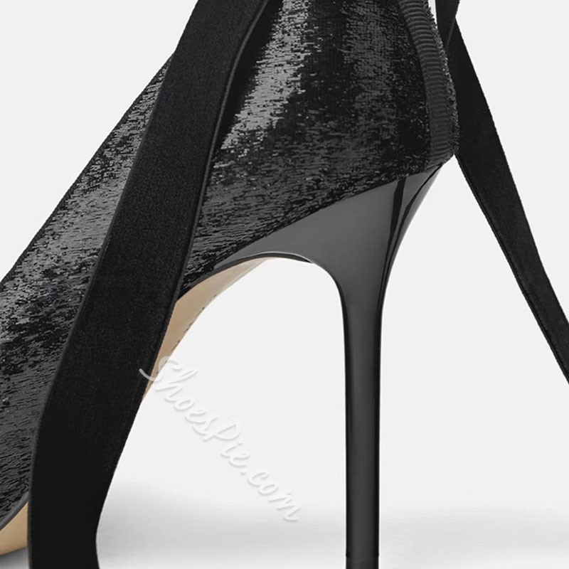Shoespie Suede Black Pointed Toe Stappy Stiletto Heels