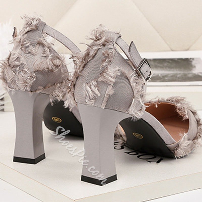 Shoespie Pointed Toe Buckle Kitten Heels