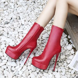 Shoespie Zipper Stiletto Heel Platform Ankle Boots