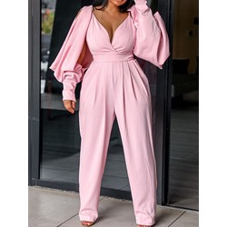 Plain Full Length Hollow Harem Pants Women's Jumpsuit