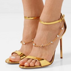 Shoespie Gold Stiletto Heel Prom Sandals