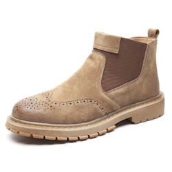 Shoespie Men's Color Block Round Toe Leather Boots