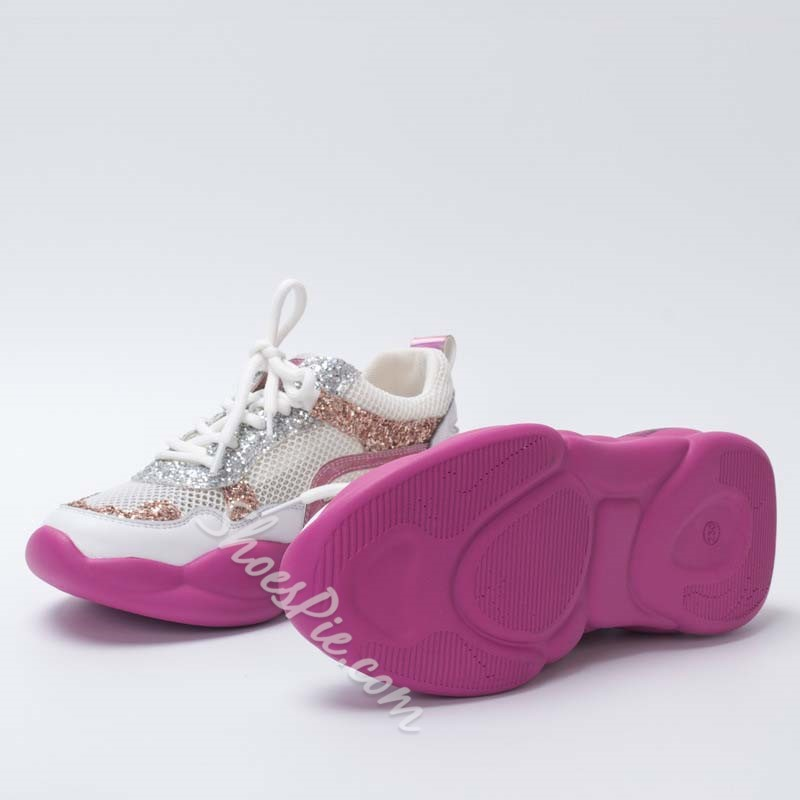 Shoespie Glitter Lace-Up Mesh Sneakers