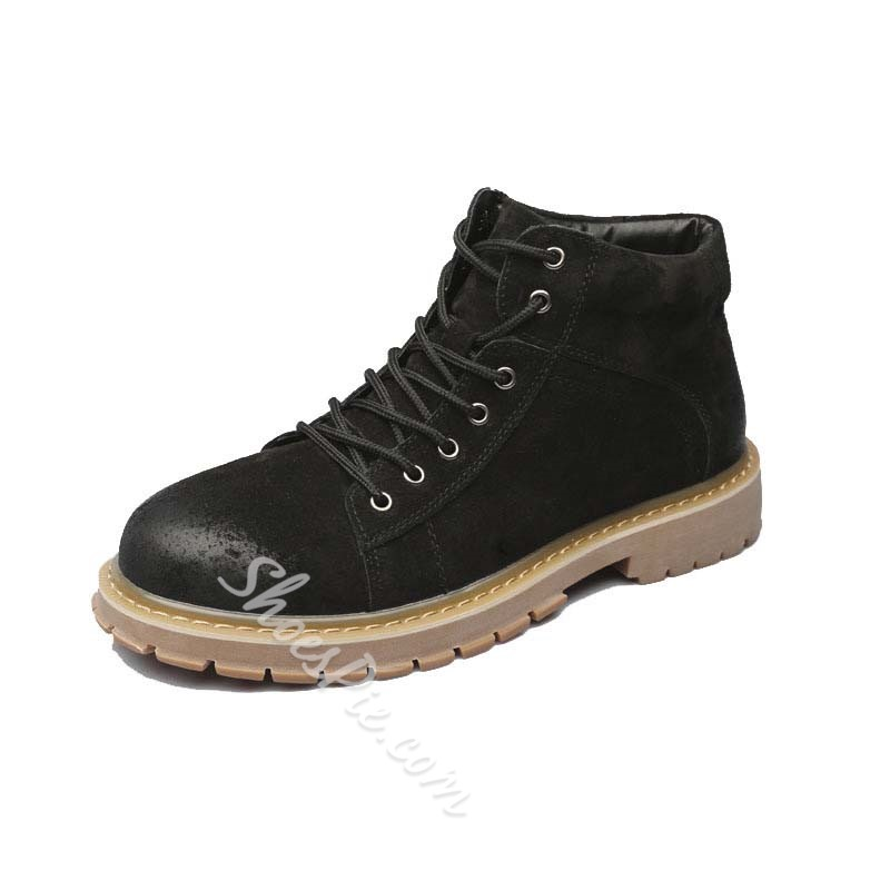 Shoespie Men's Lace-Up Front Round Toe Plain Leather Boots