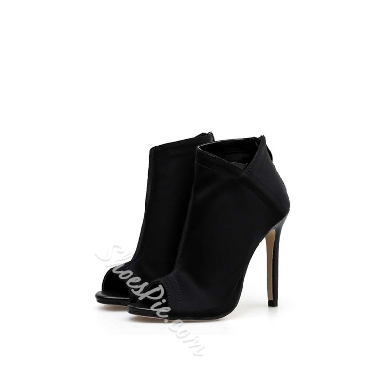 Shoespie Stylish Zipper High Heel Peep Toe Ankle Boots
