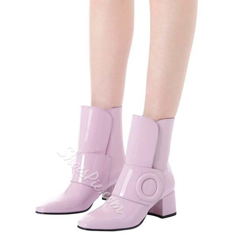 Shoespie Chunky Heel Buckle PU Ankle Boots