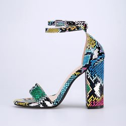 Shoespie Colorful Chunky Heel Buckle Sandals
