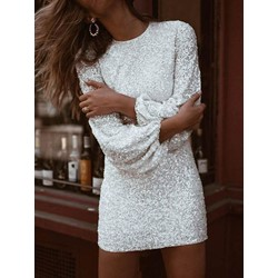 Above Knee Nine Points Sleeve Sequins Pullover Women's Dress