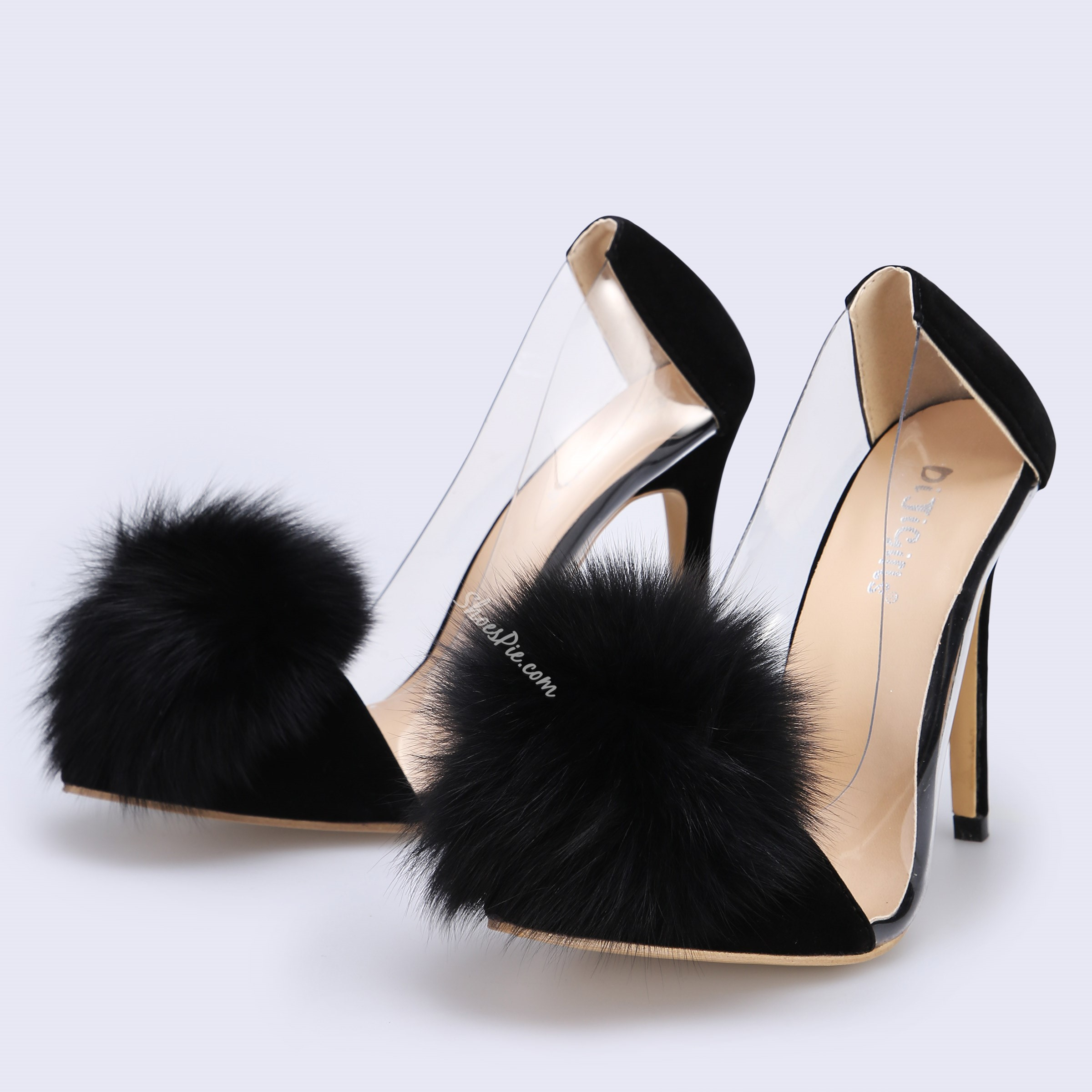 Shoespie Sexy Pompon Pointed Toe Slip-On Low-Cut Stiletto Heels