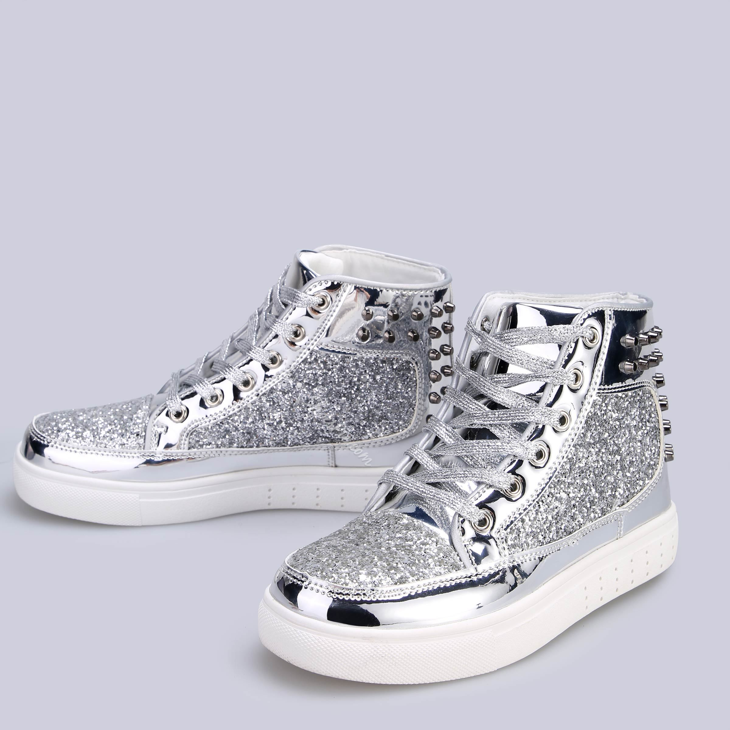 Shoespie Glitter Rivet High Top Sneakers