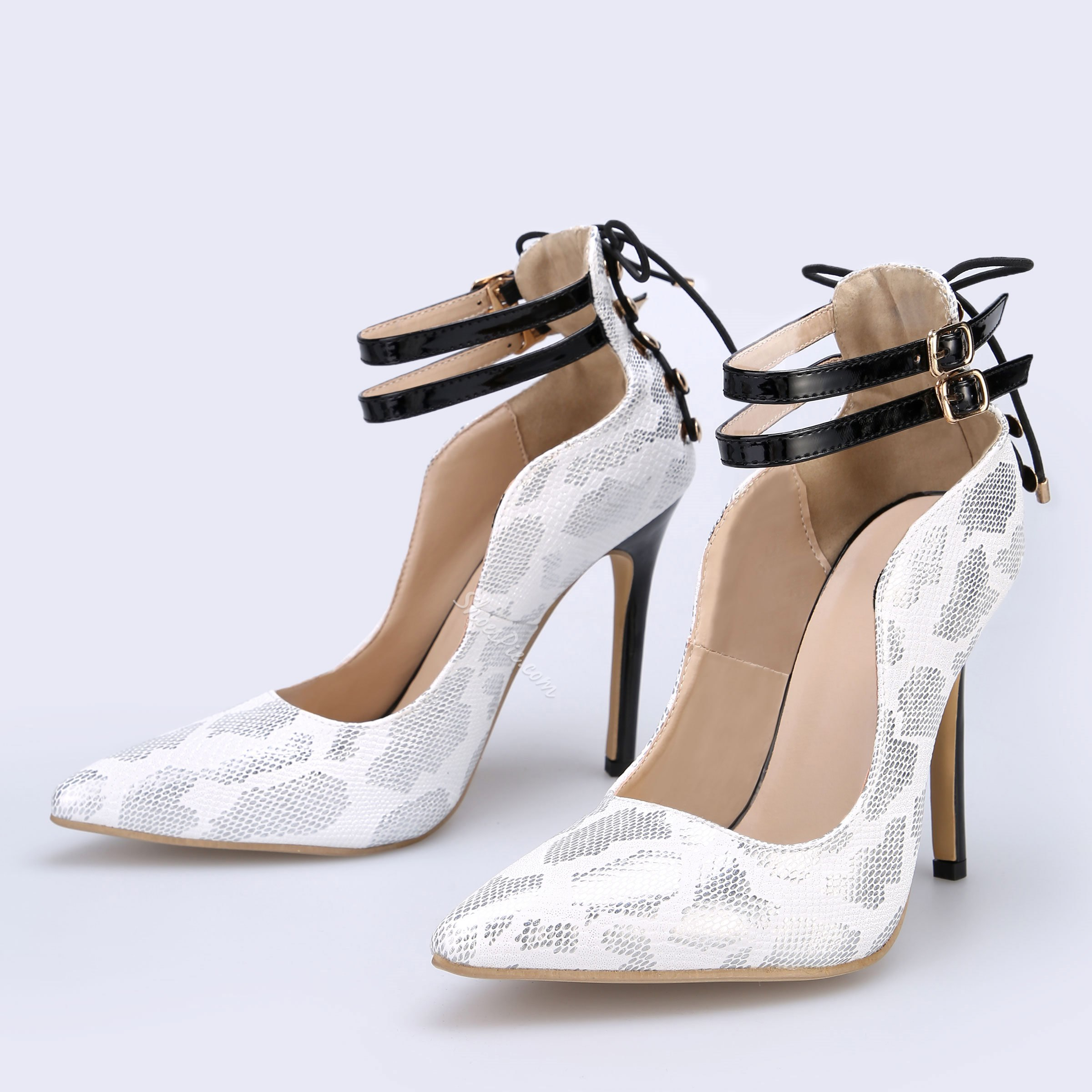 Shoespie Print Buckle Pointed Toe High Heels