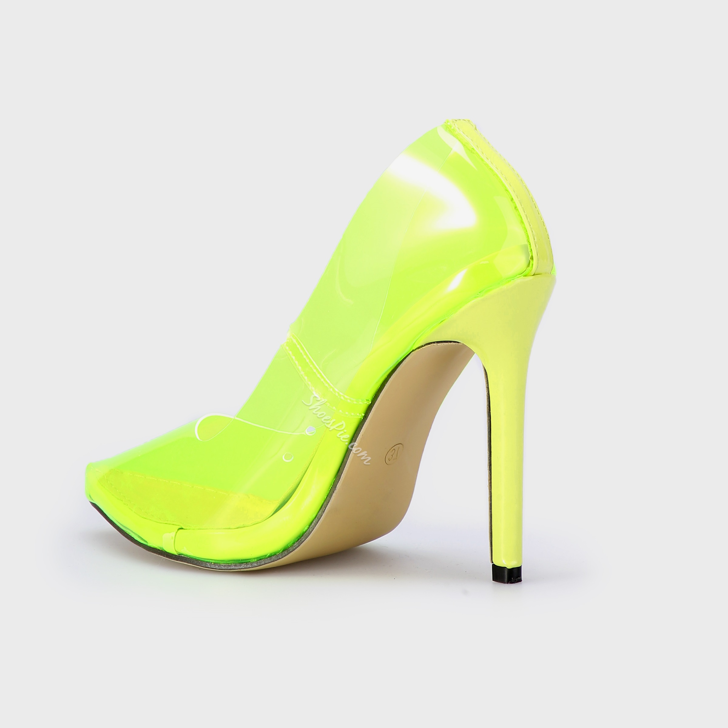 Shoespie Stiletto Heel Clear Pointed Toe Pumps