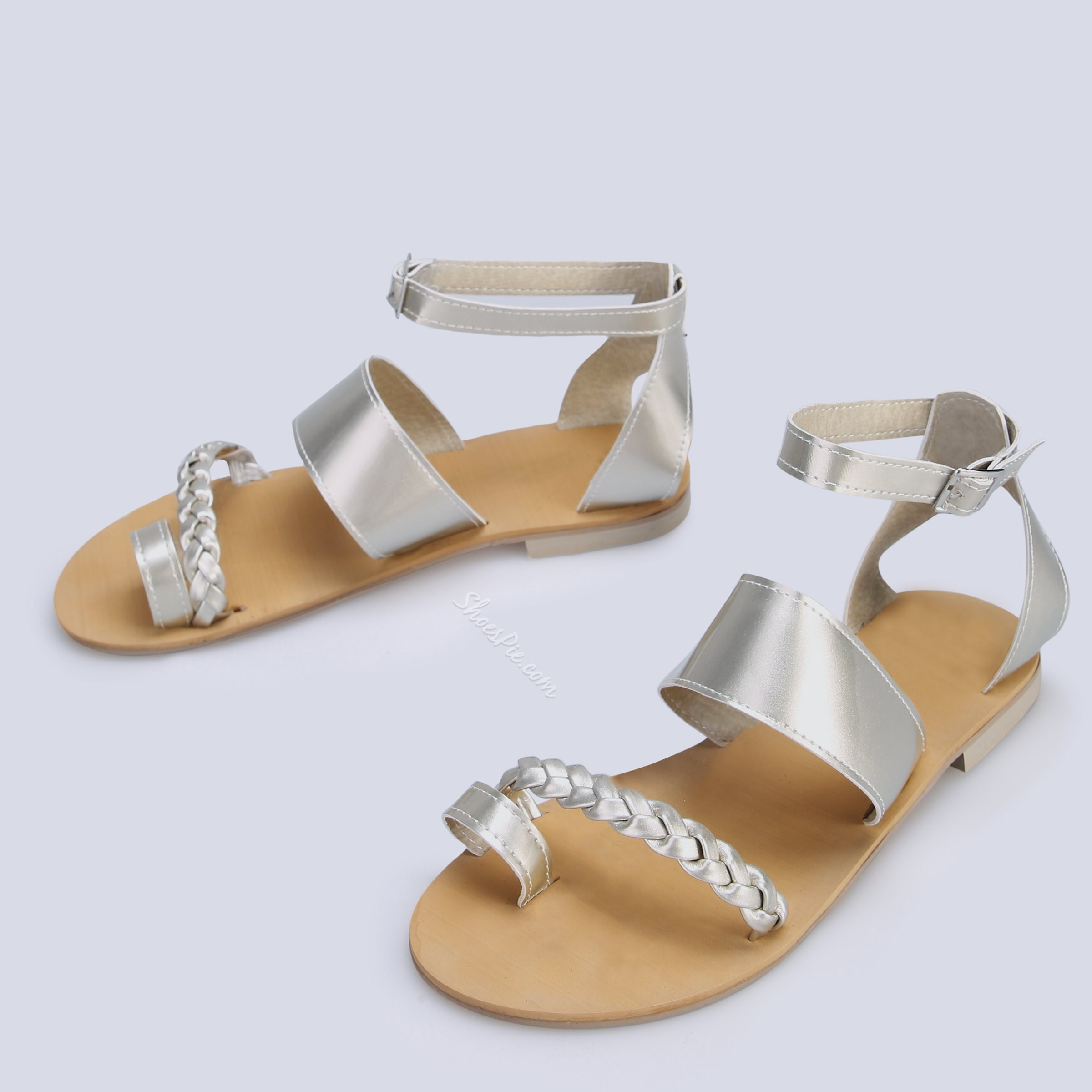 Shoespie Flat Buckle Ankle Strap Open Toe Woven Sandals