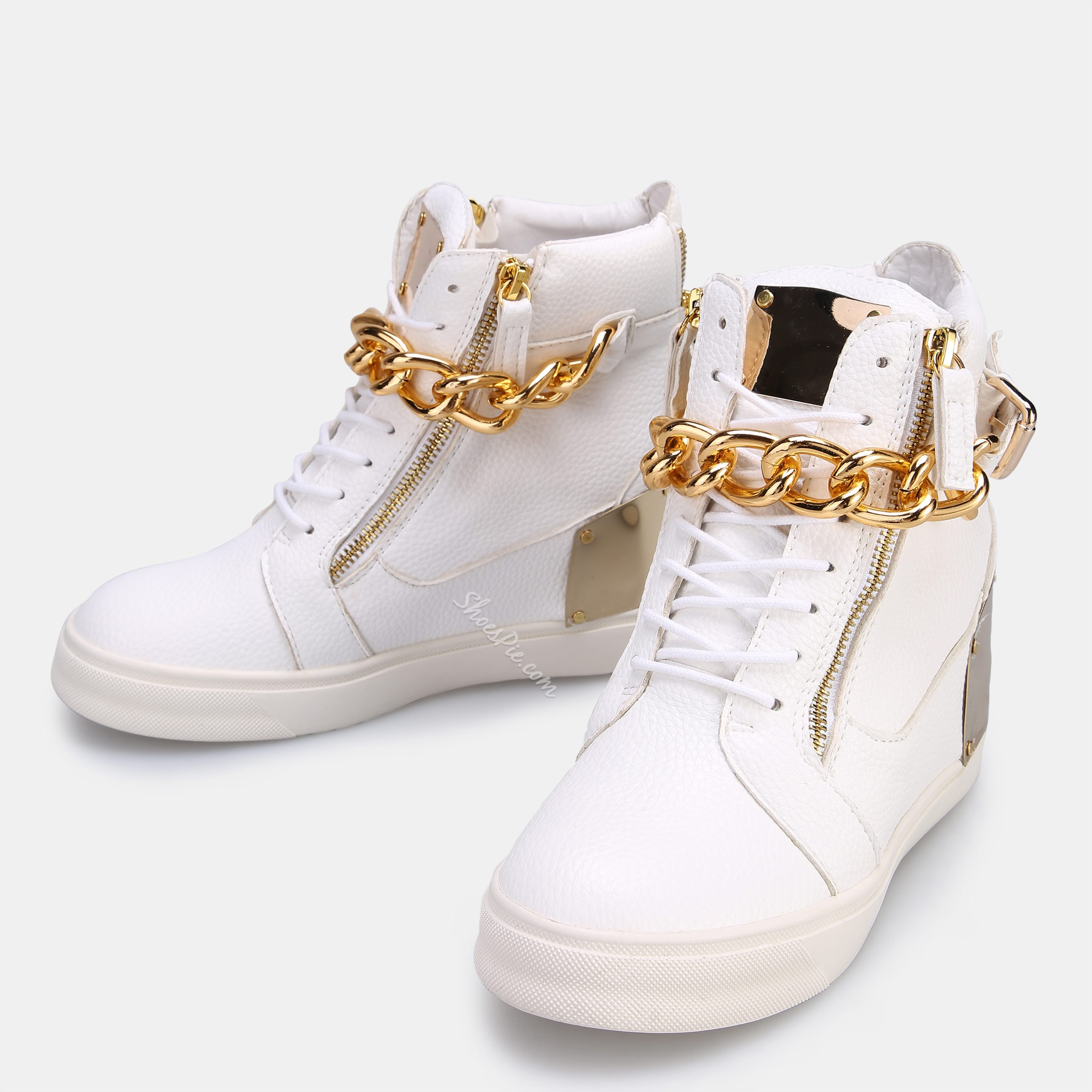 Shoespie Gold Hidden Wedge Heel Sneakers