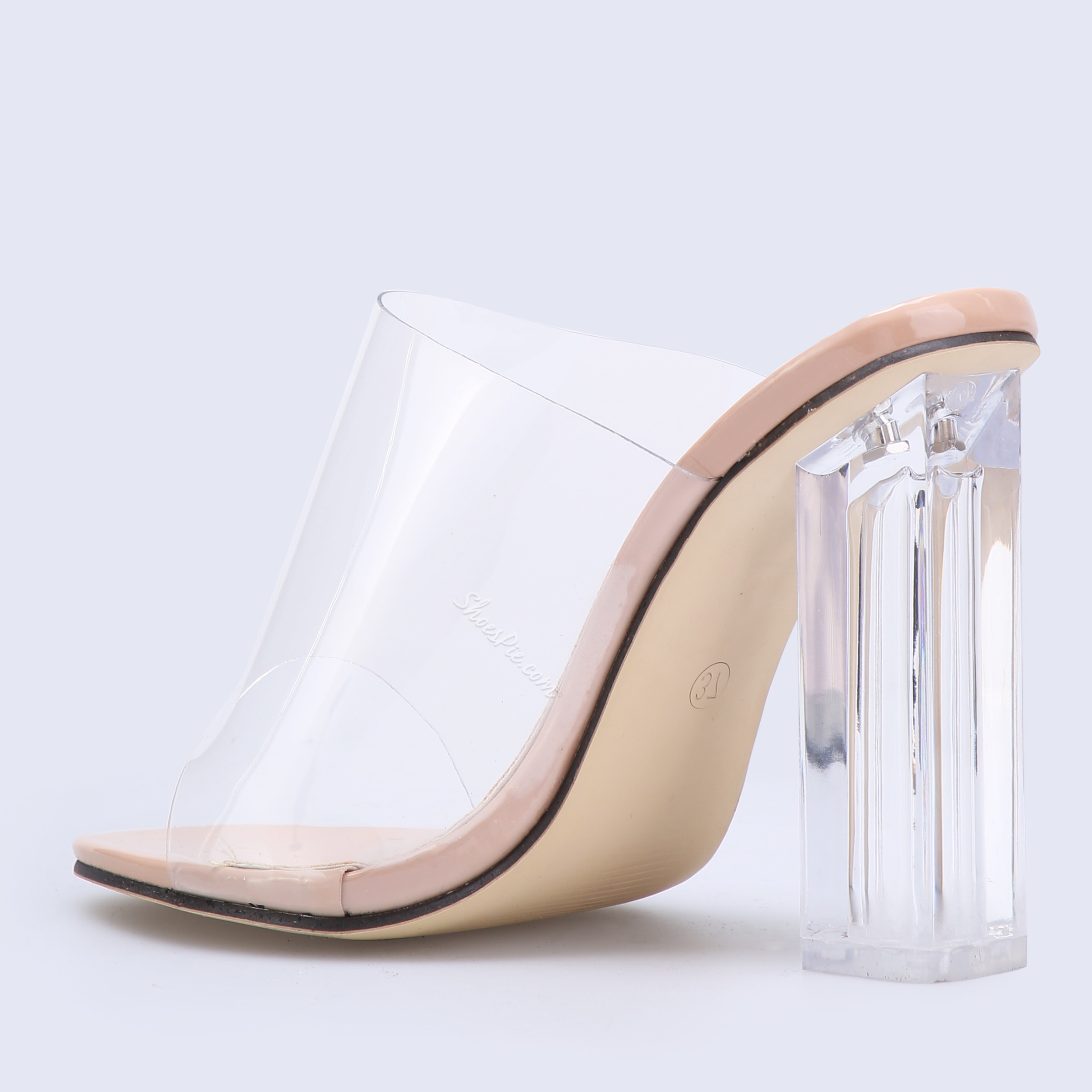 Shoespie Clear Apricot Slip-On Chunky Heel Mules Shoes