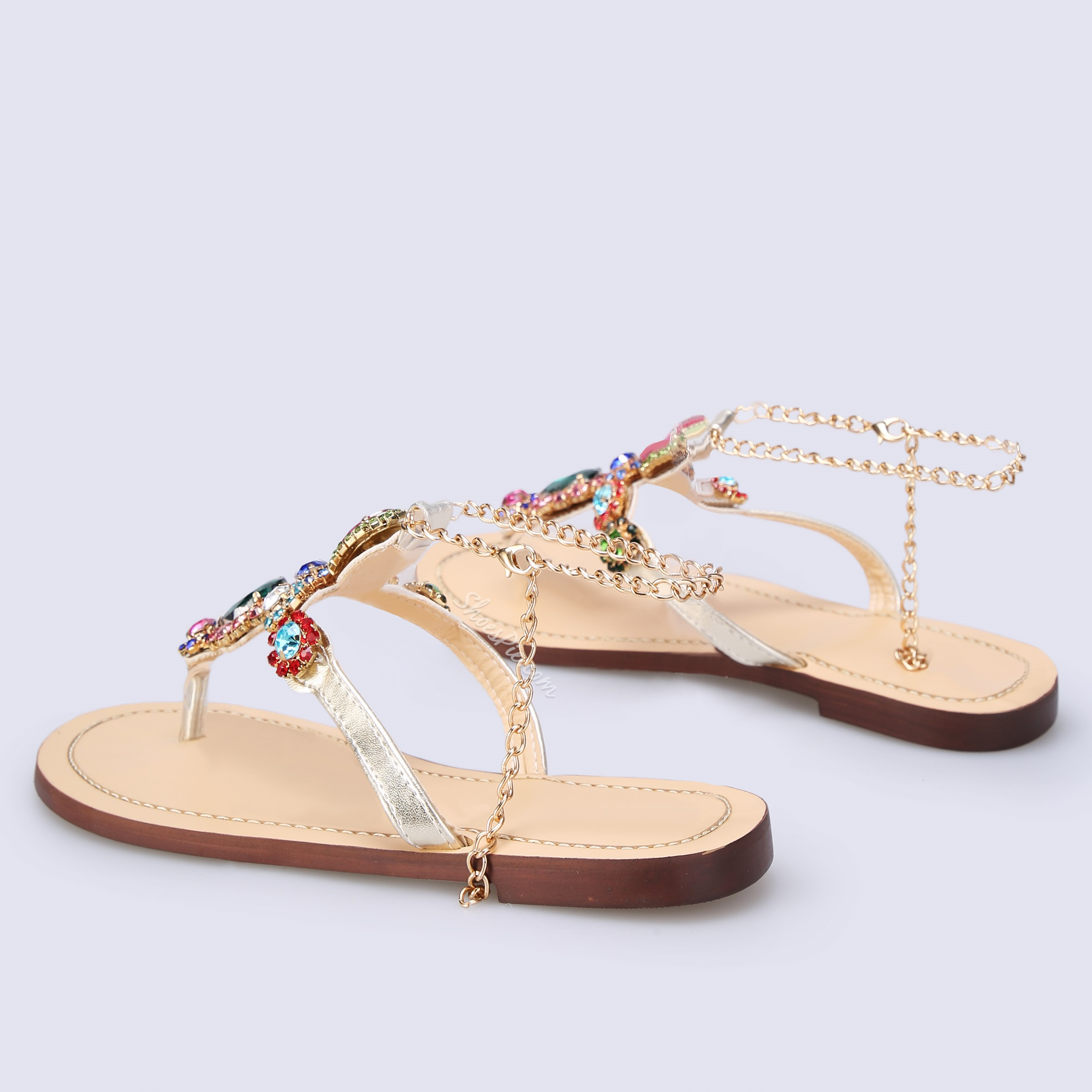 Shoespie Buckle Thong Flat Rhinestone Sandals