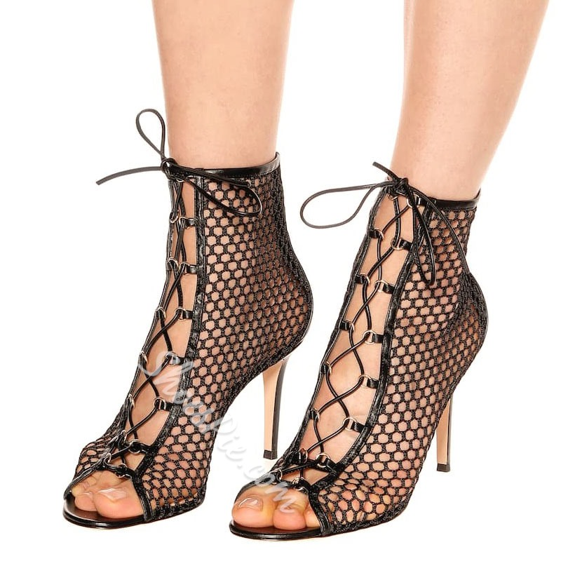 Shoespie Black Mesh Stiletto Heel Peep Toe Ankle Boots