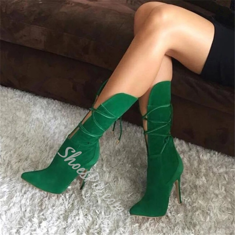 Shoespie Pointed Toe Stiletto Heel Lace-Up Ankle Boots