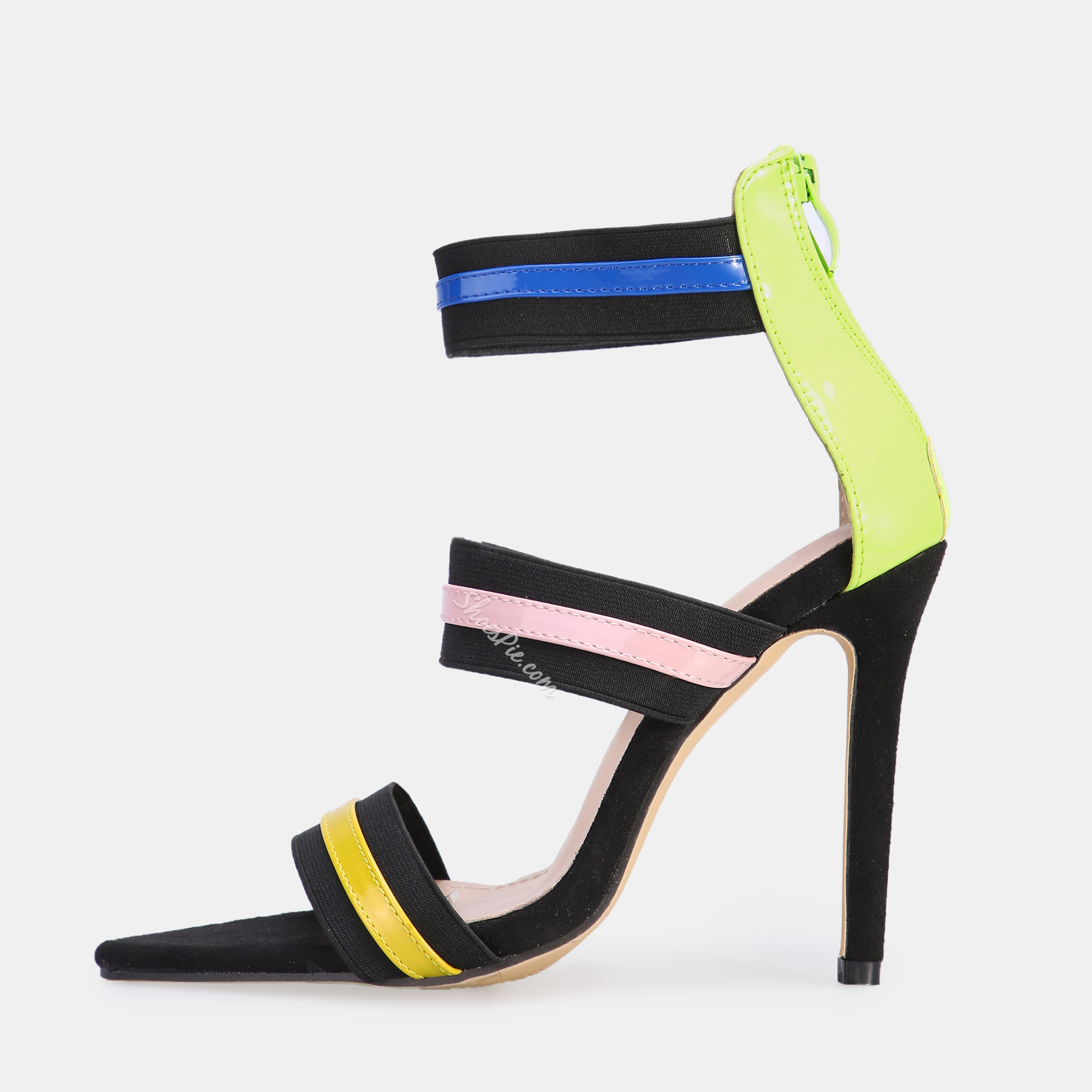 Shoespie High Heel Elastic Band Zipper Stripe Sandals