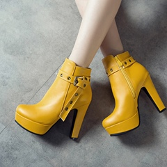 Shoespie Chunky Heel Zipper Buckle Platform Ankle Boots