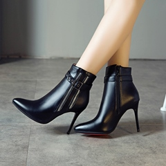 Shoespie Stiletto Heel Pointed Toe Short Floss Boots