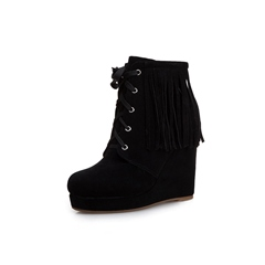 Shoespie Trendy Plain Round Toe Lace-Up Front Casual Boots