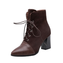 Shoespie Stylish Pointed Toe Lace-Up Front Chunky Heel Casual Boots