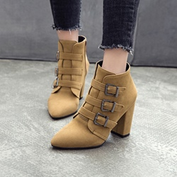 Shoespie Front Zipper Pointed Toe Casual Chunky Heel Boots