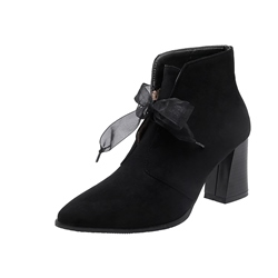 Shoespie Trendy Plain Chunky Heel Lace-Up Front Sweet Boots