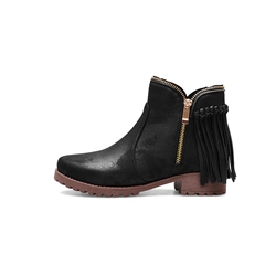 Shoespie Black Chunky Heel Fringe Ankle Boots