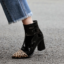 Shoespie Chunky Heel Leopard Zipper Short Floss Boots