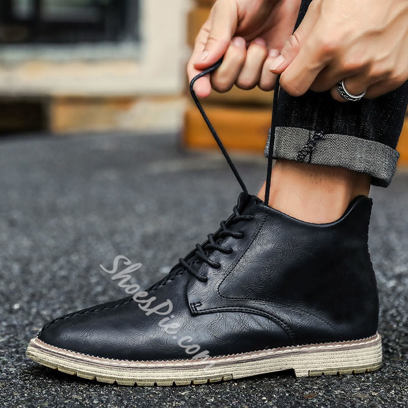 Shoespie Men's High-Cut Upper Lace-Up Color Block Round Toe Boots