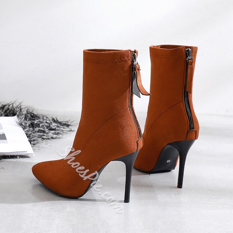 Shoespie Sexy Back Zip Pointed Toe Plain Boots