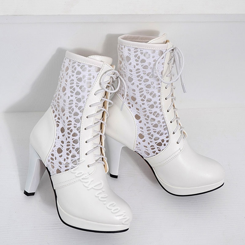 Shoespie Kitten Heel Lace-Up Meseh Ankle Boots