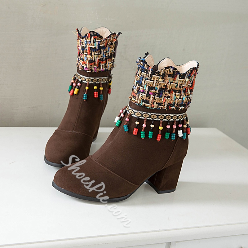 Shoespie Sexy Side Zipper Color Block Chunky Heel Zipper Boots