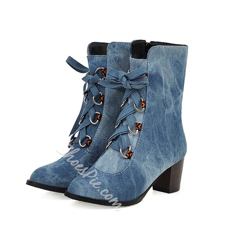 Shoespie Lace Up Chunky Heel Casual Boots